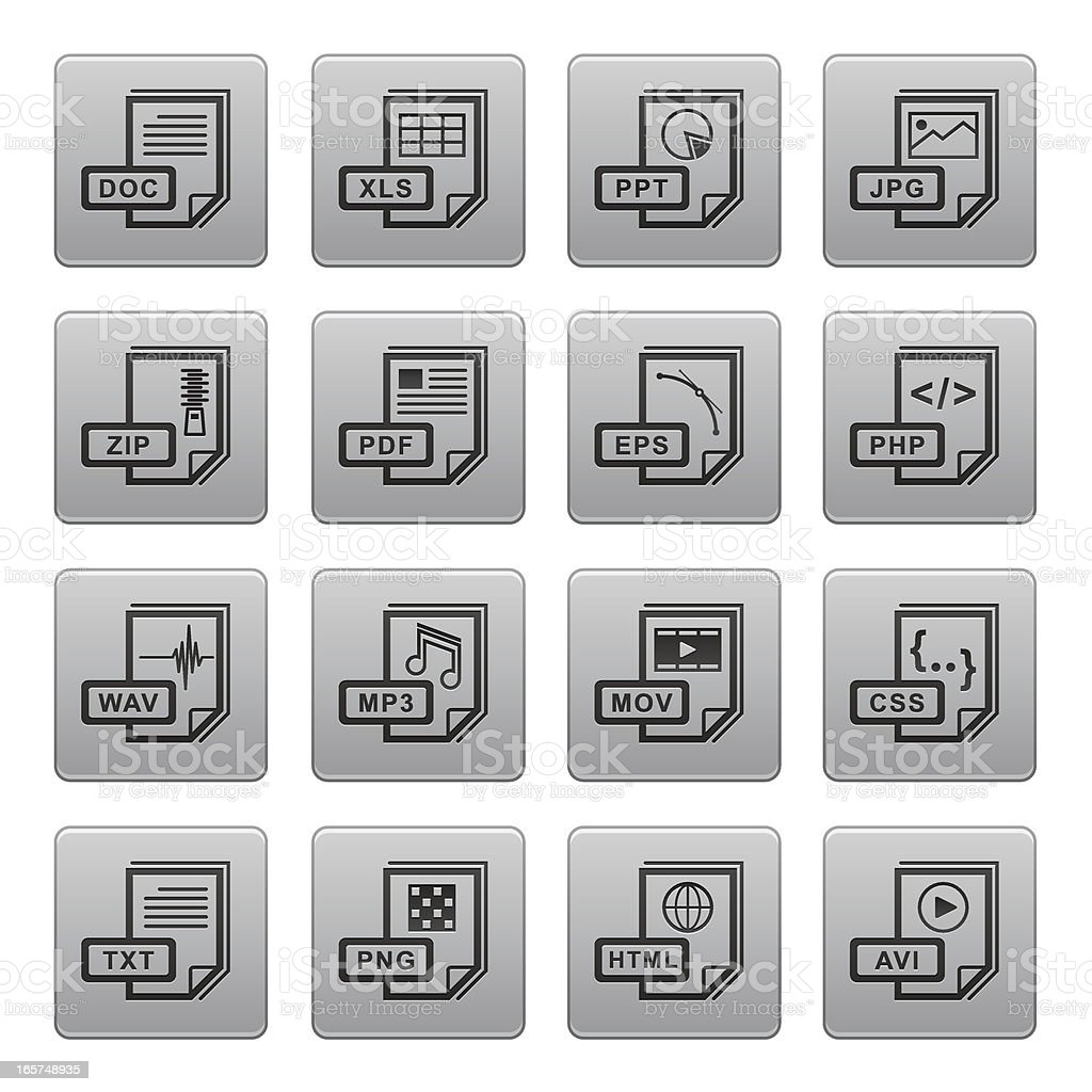 Document and File Type Icons vector art illustration