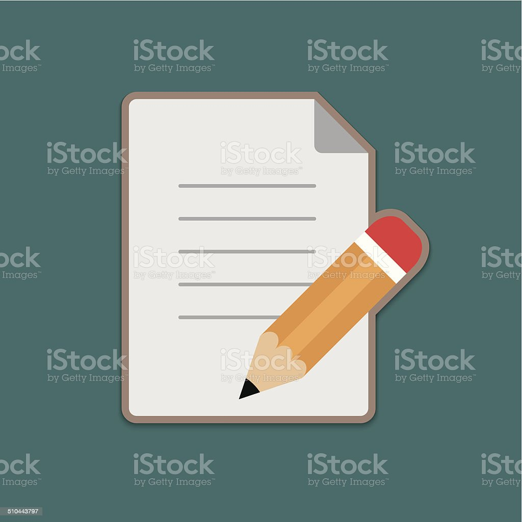 Document and Pencil Vector Icon vector art illustration