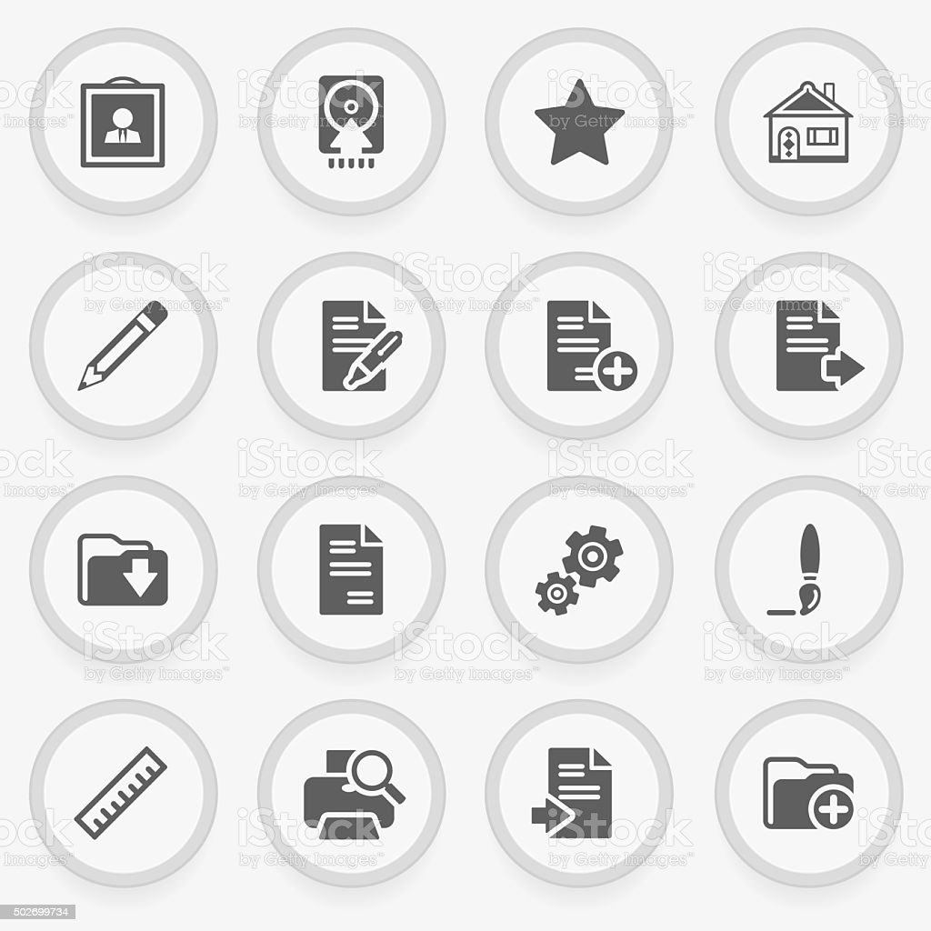 Document black icons on stickers. Flat design. vector art illustration