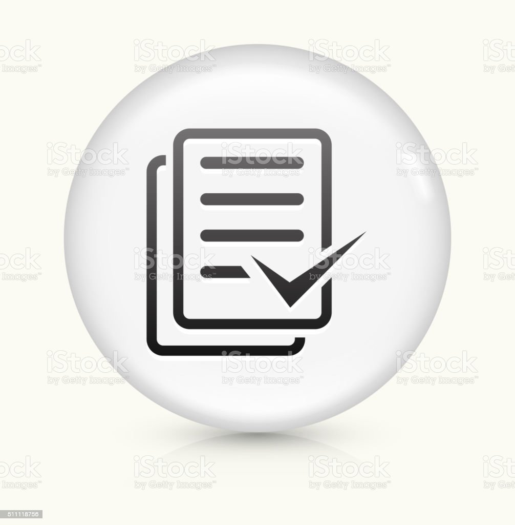 Document Check Mark icon on white round vector button vector art illustration