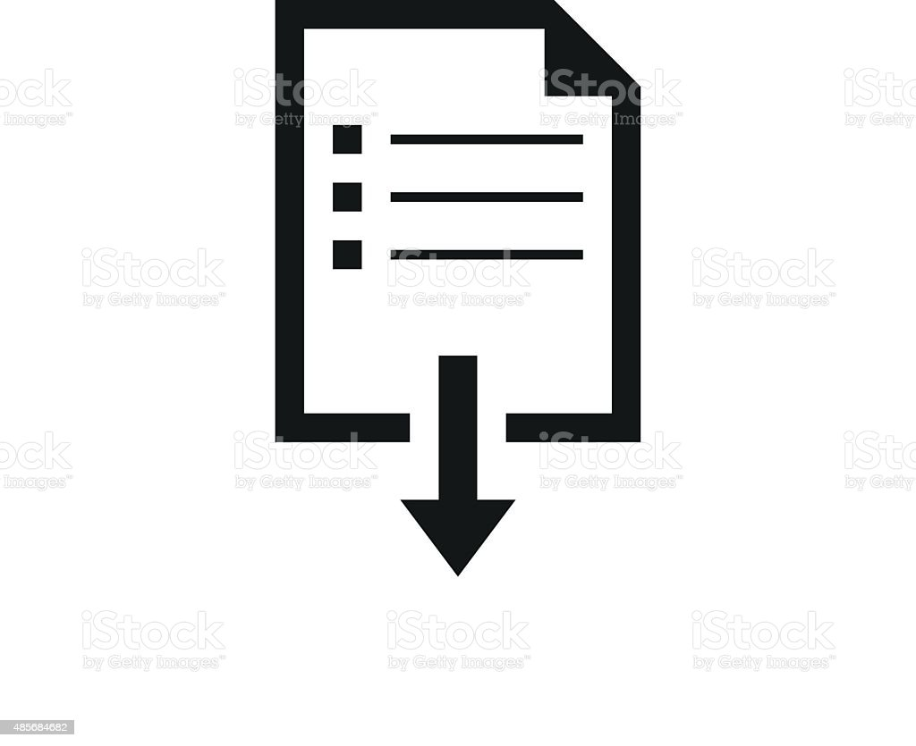 Document Downloading icon on a white background. vector art illustration