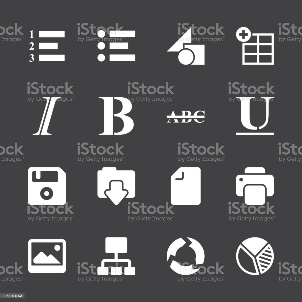 Document Editor Tool Icons - White Series | EPS10 royalty-free stock vector art