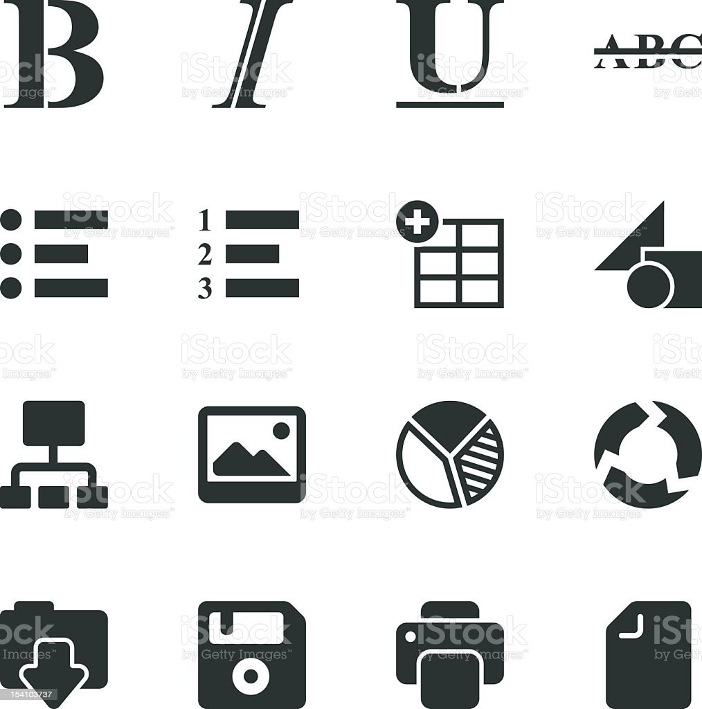 Document Editor Tool Silhouette Icons royalty-free stock vector art