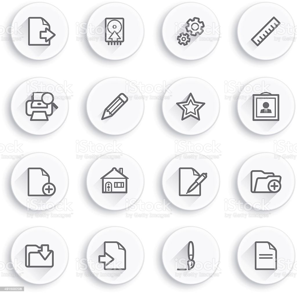 Document flat contour icons on white buttons. vector art illustration