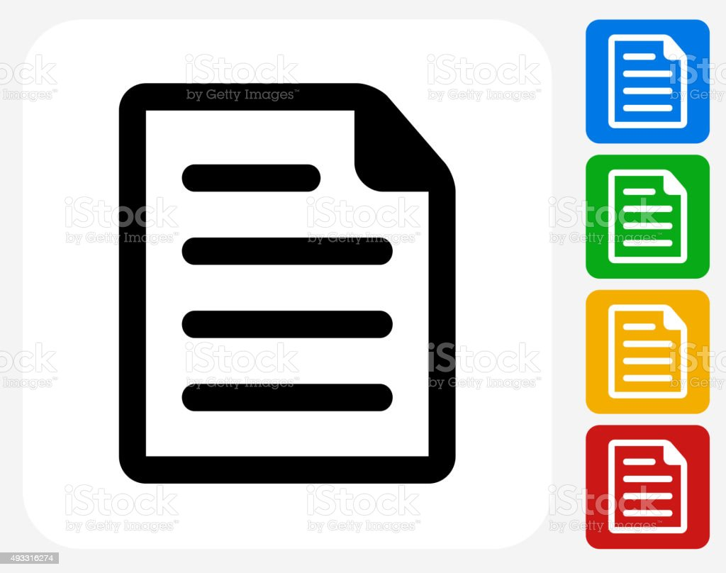 Document Icon Flat Graphic Design vector art illustration