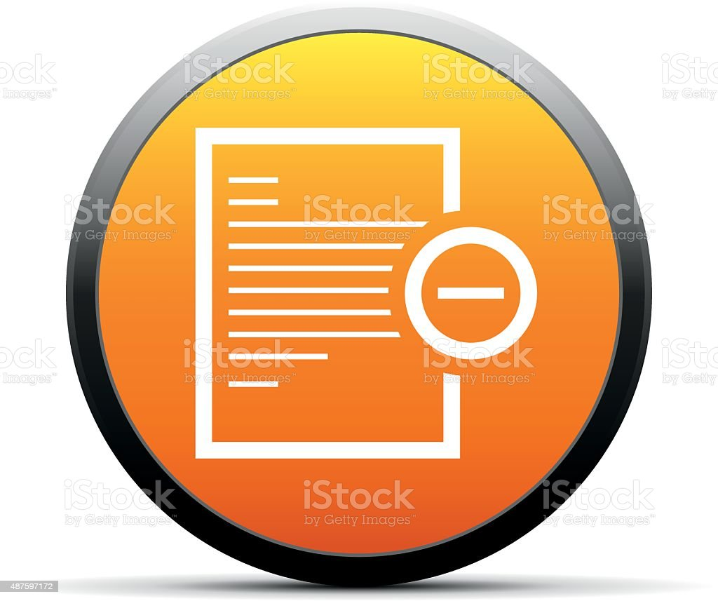 Document icon on a round button. vector art illustration