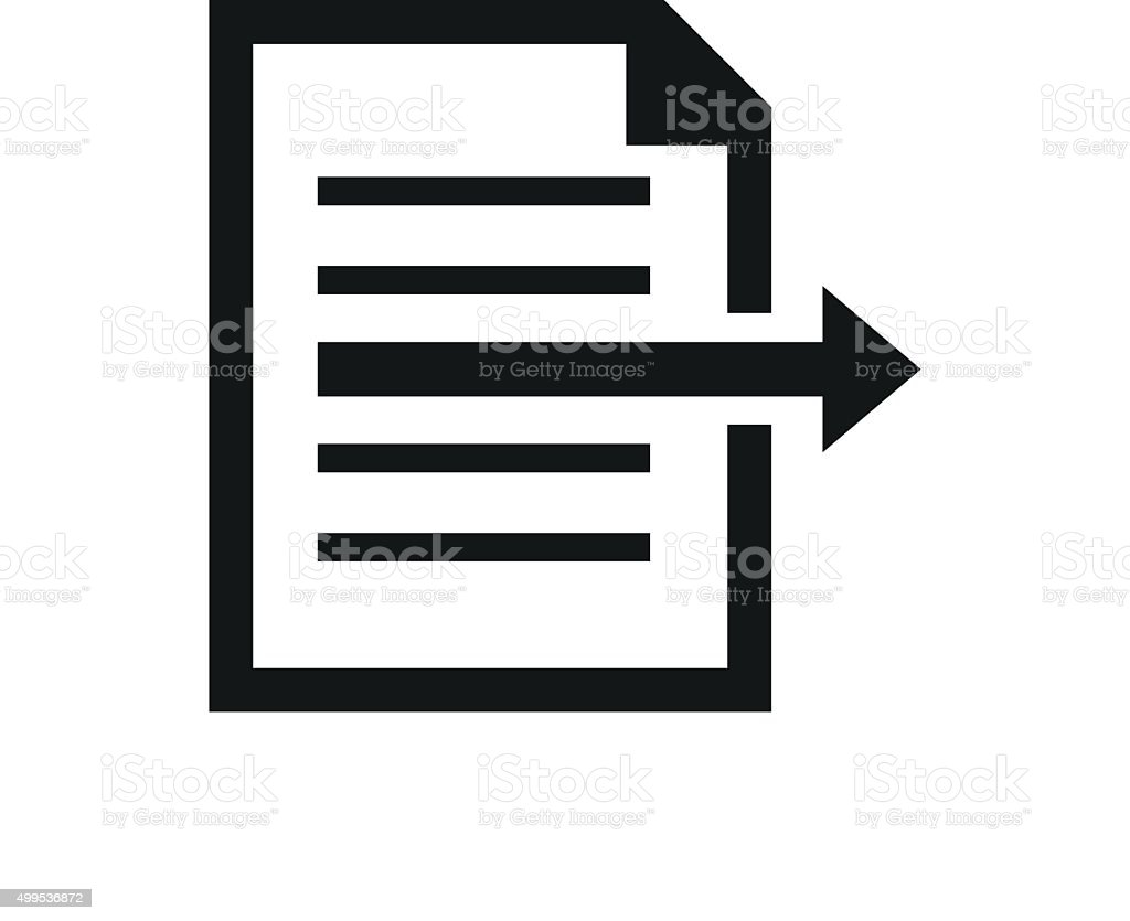 Document icon on a white background. - SingleSeries vector art illustration