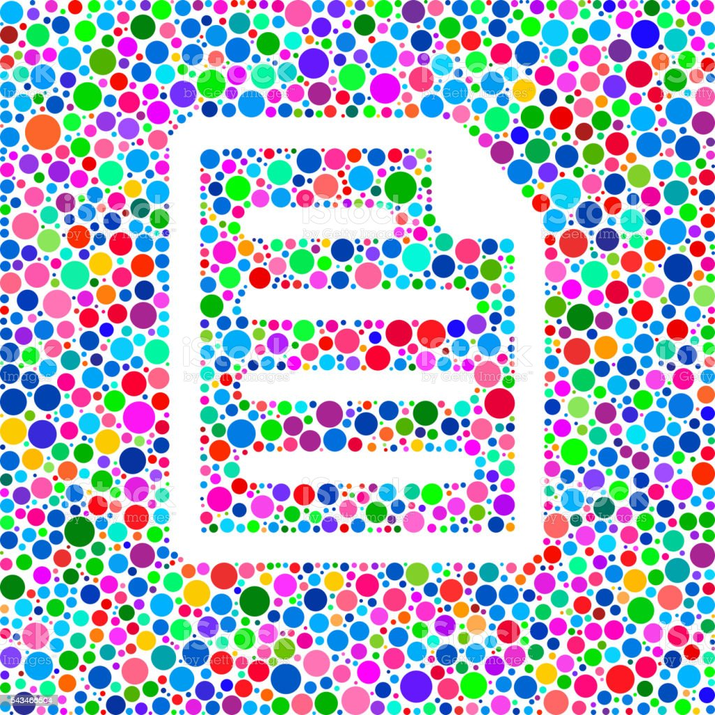 Document Icon on Color Circle Background Pattern vector art illustration