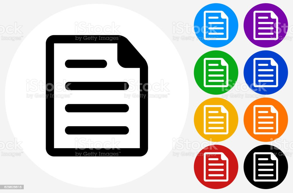Document Icon on Flat Color Circle Buttons vector art illustration