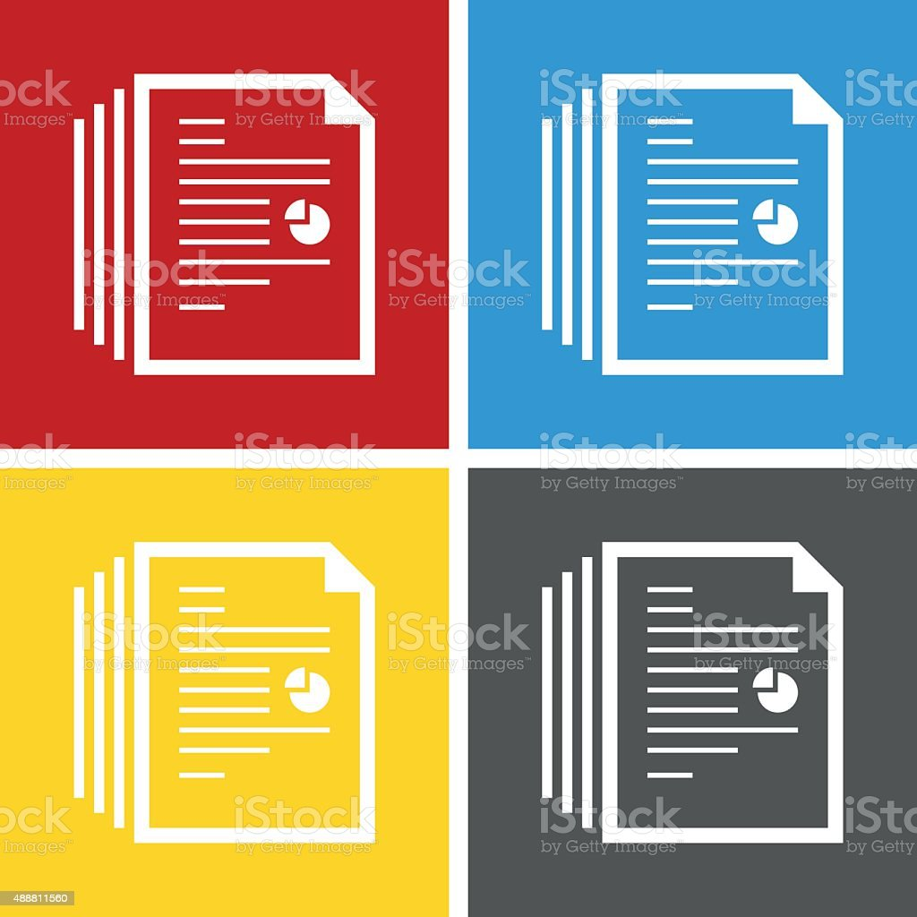 Document icon on square buttons. vector art illustration