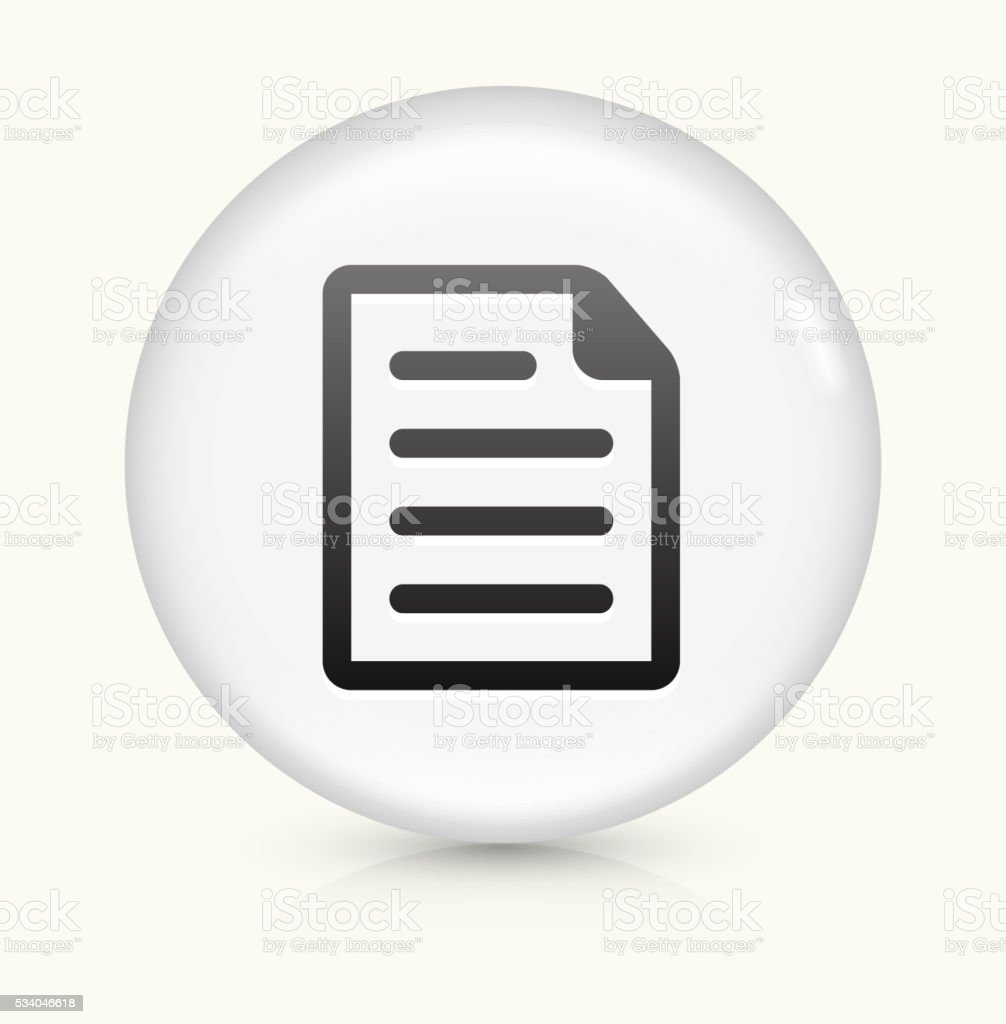 Document icon on white round vector button vector art illustration
