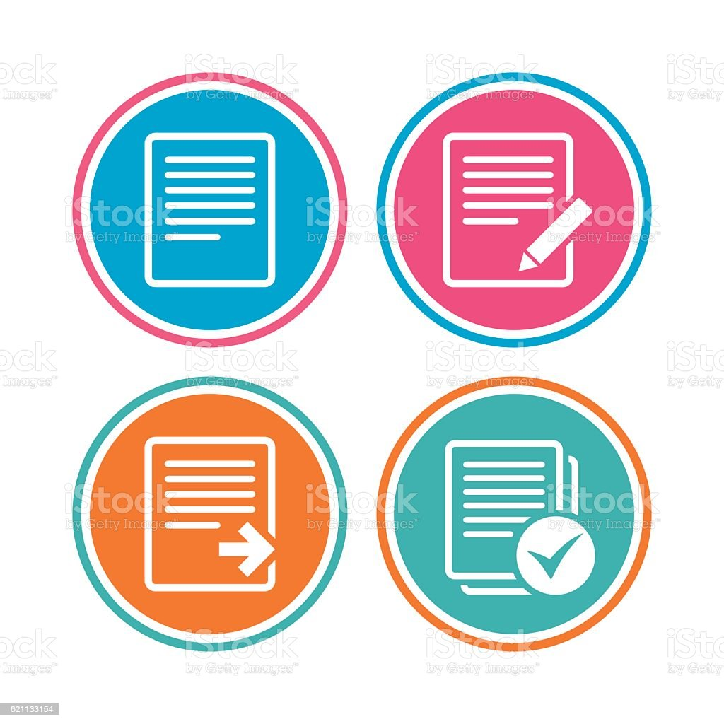 Document icons. Download file and checkbox. vector art illustration