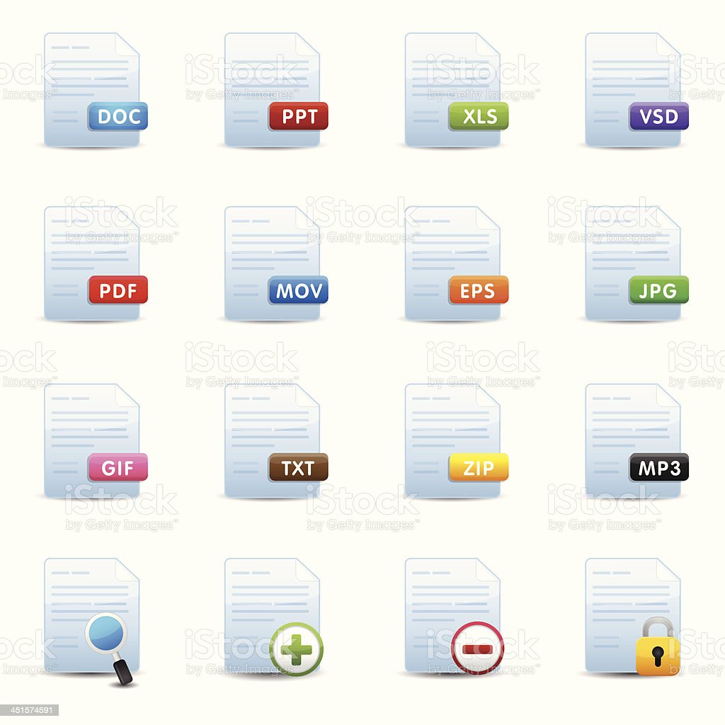 Document Icons Set royalty-free stock vector art