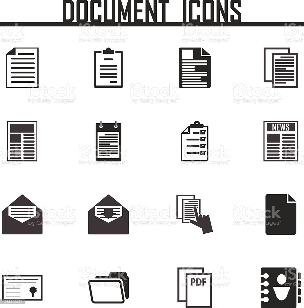 Document icons set vector illustration. vector art illustration
