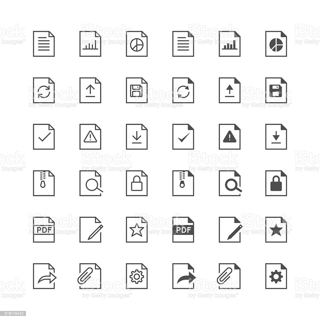 Document icons vector art illustration