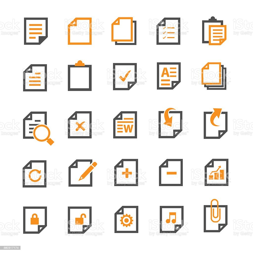 Document icons vector art illustration