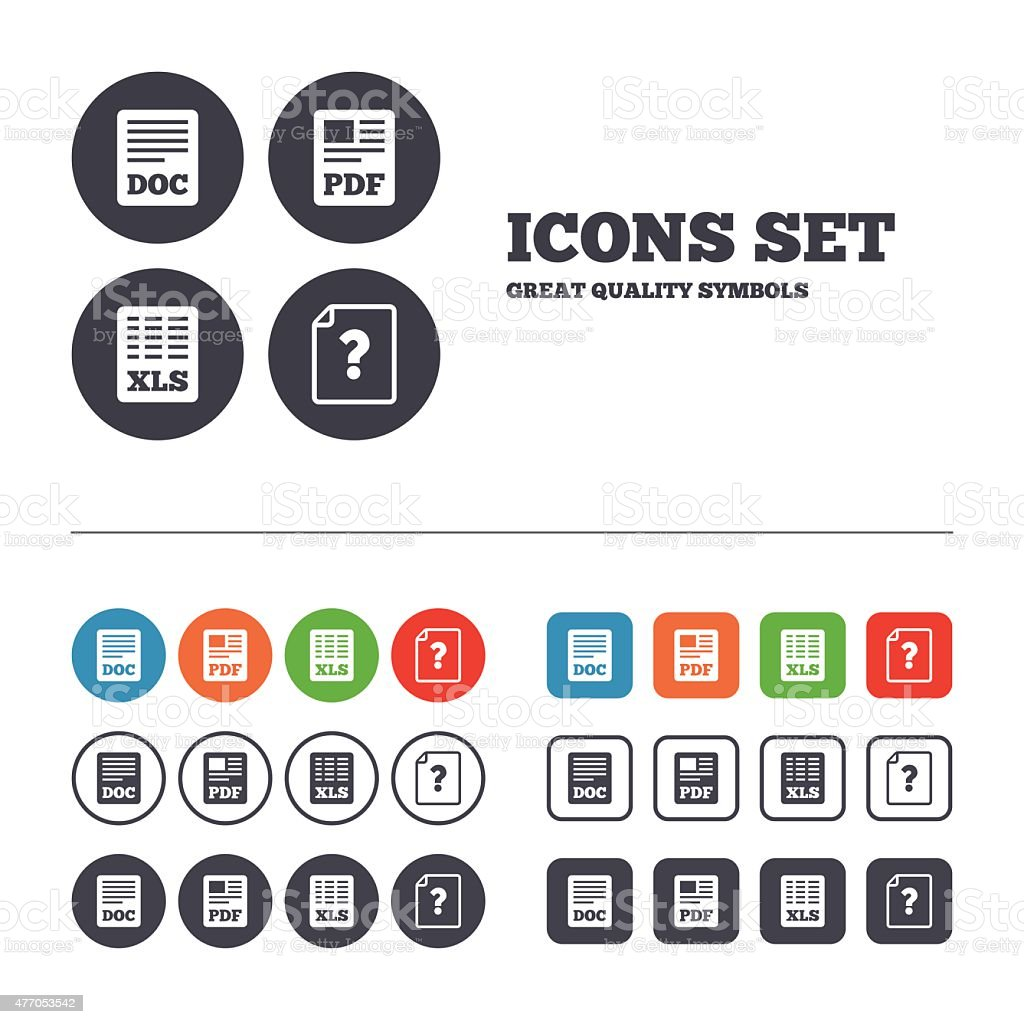 Document icons. XLS, PDF file signs vector art illustration