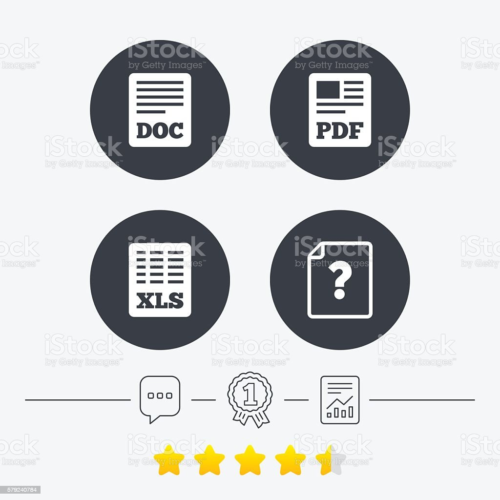 Document icons. XLS, PDF file signs. vector art illustration