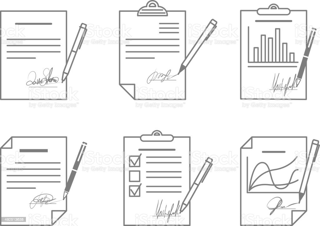 Document or contract with signature vector art illustration
