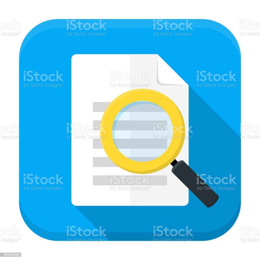 Document search app icon with long shadow vector art illustration