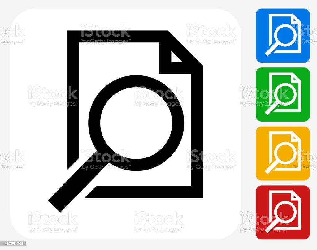 Document Search Icon Flat Graphic Design vector art illustration