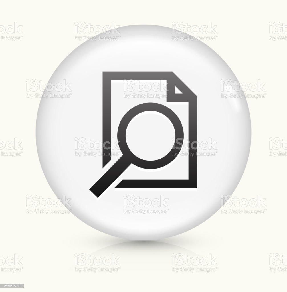 Document Search icon on white round vector button vector art illustration