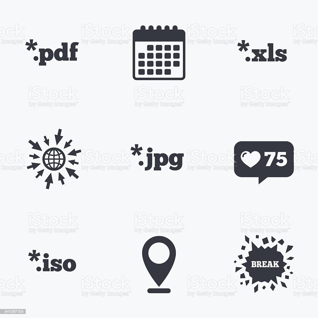 Document signs. File extensions symbols. vector art illustration