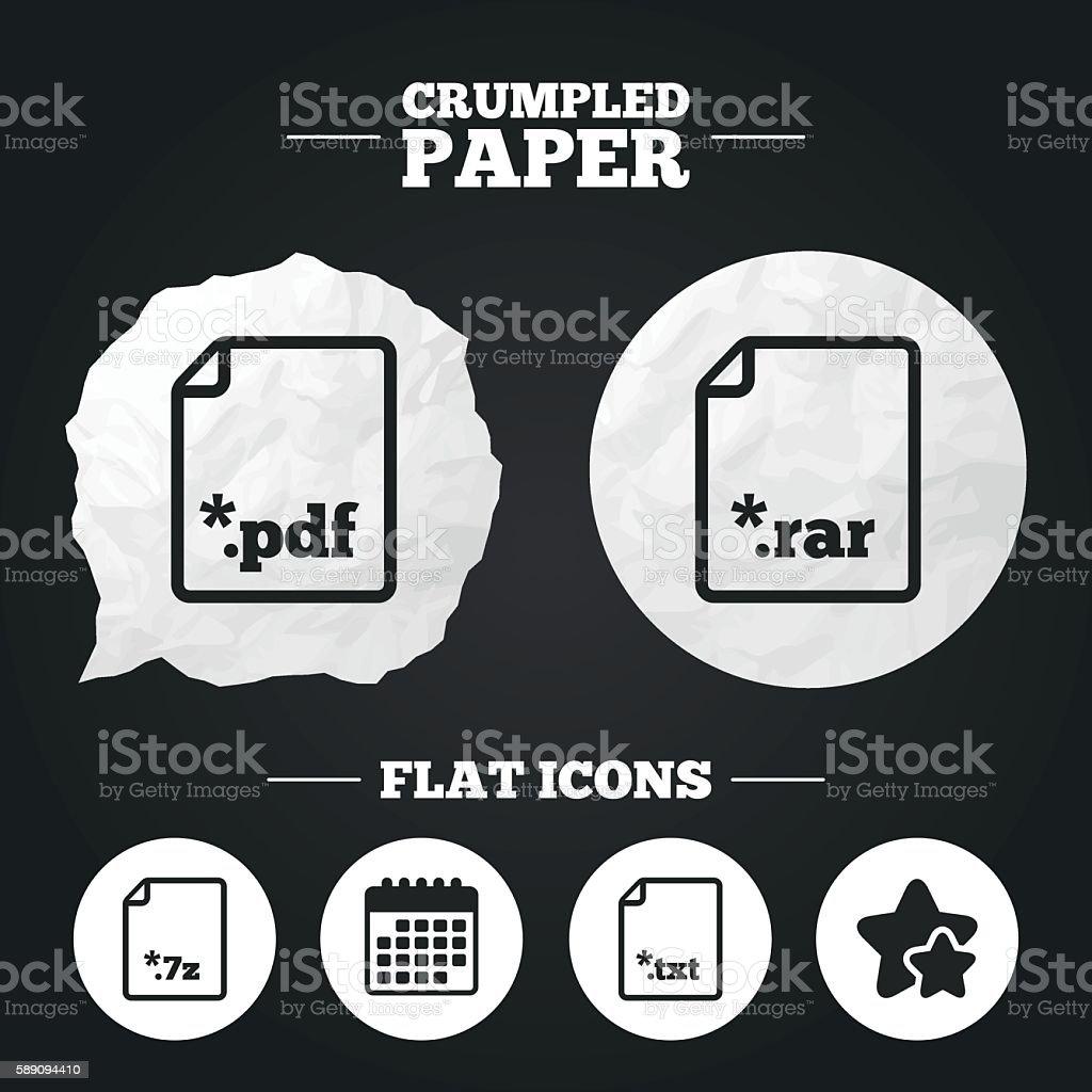 Document signs. File extensions symbols. vector art illustration
