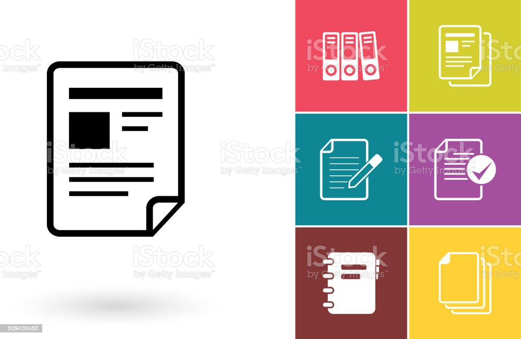 Document vector icon or file symbol vector art illustration