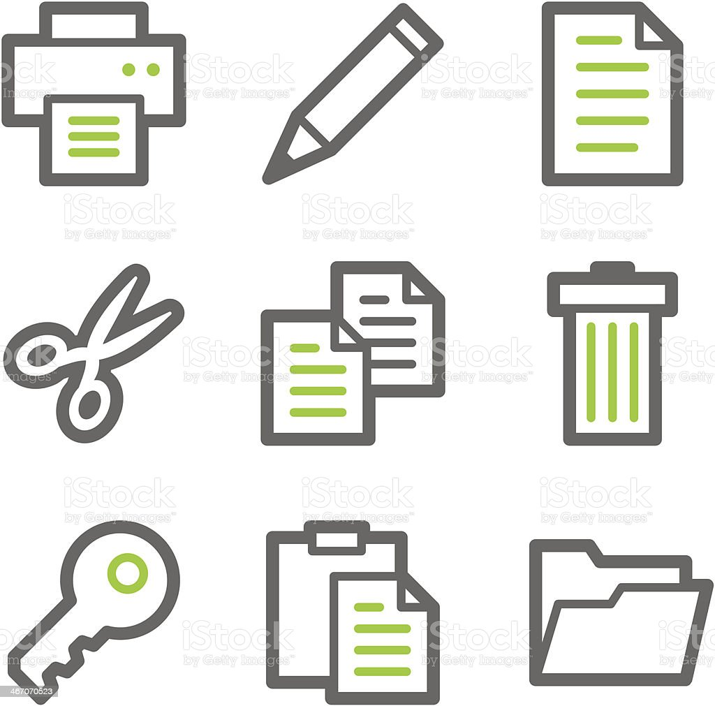 Document web icons, green and gray contour series royalty-free stock vector art