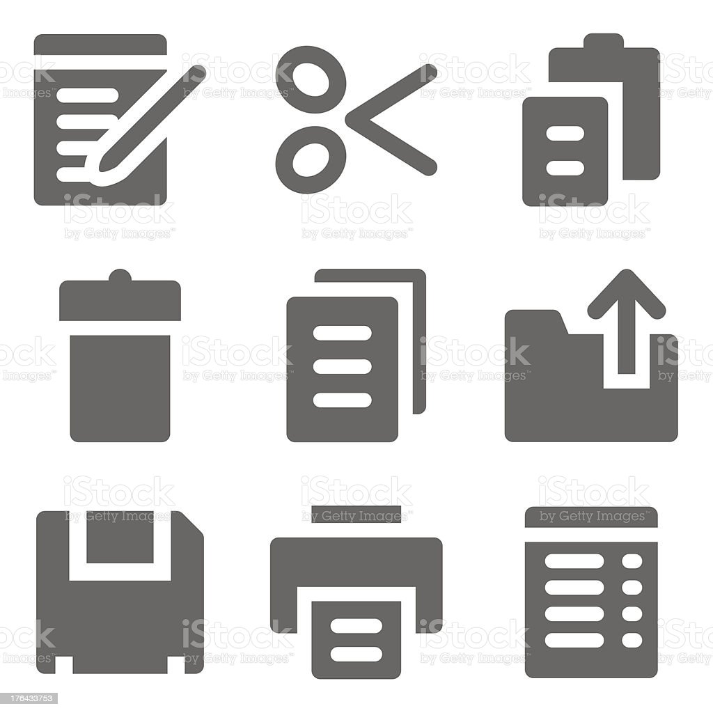 Document web icons, grey solid series royalty-free stock vector art