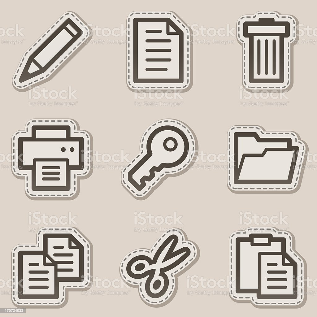 Document web icons set 1, brown contour sticker series royalty-free stock vector art