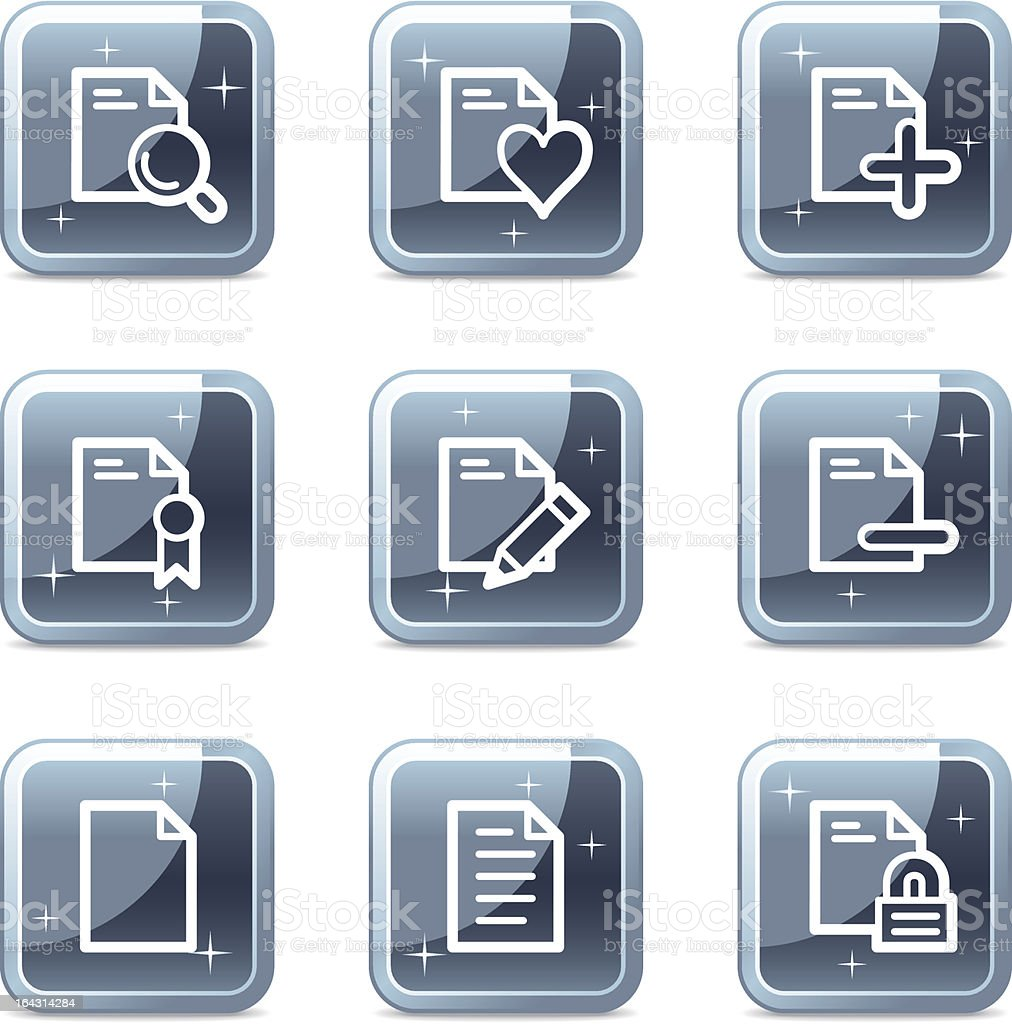 Document web icons, square blue mineral buttons series set 2 royalty-free stock vector art