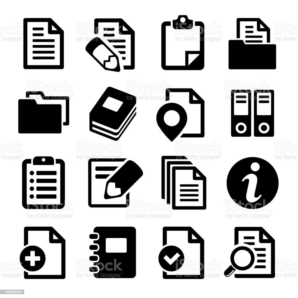 Documents and folders icons set. royalty-free stock vector art