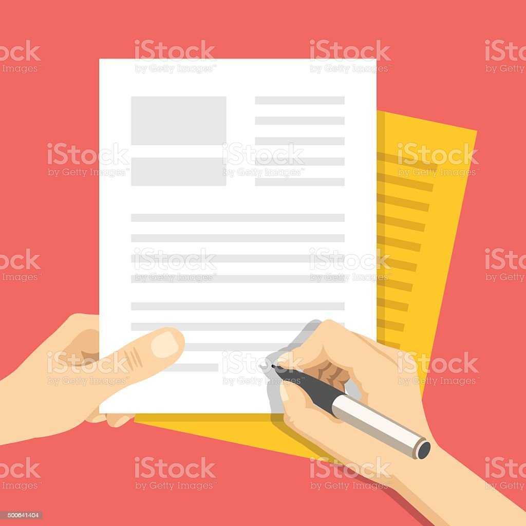Documents and hand with pen signs documents. Treaty signing concept vector art illustration