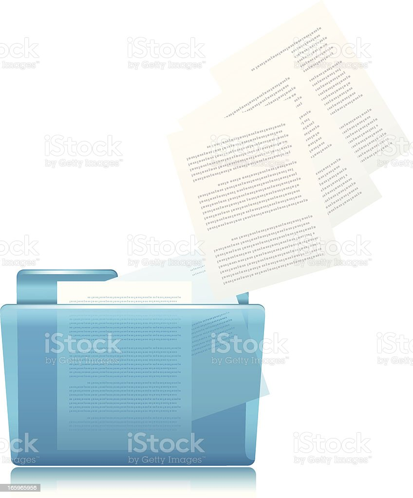 Documents floating out of a blue folder to show uploading vector art illustration