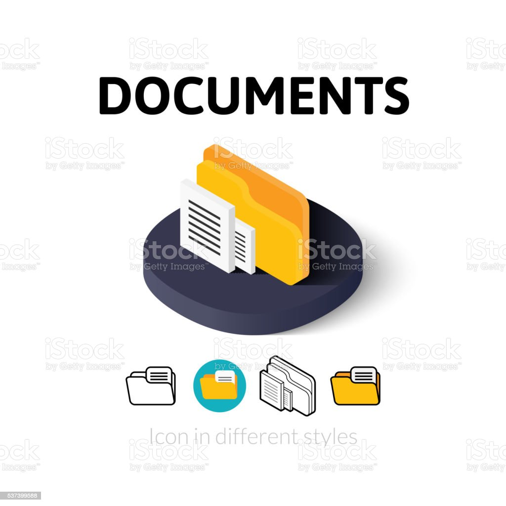 Documents icon in different style vector art illustration