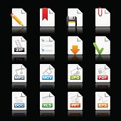 Documents Icon Set 1 of 2 // Black Background