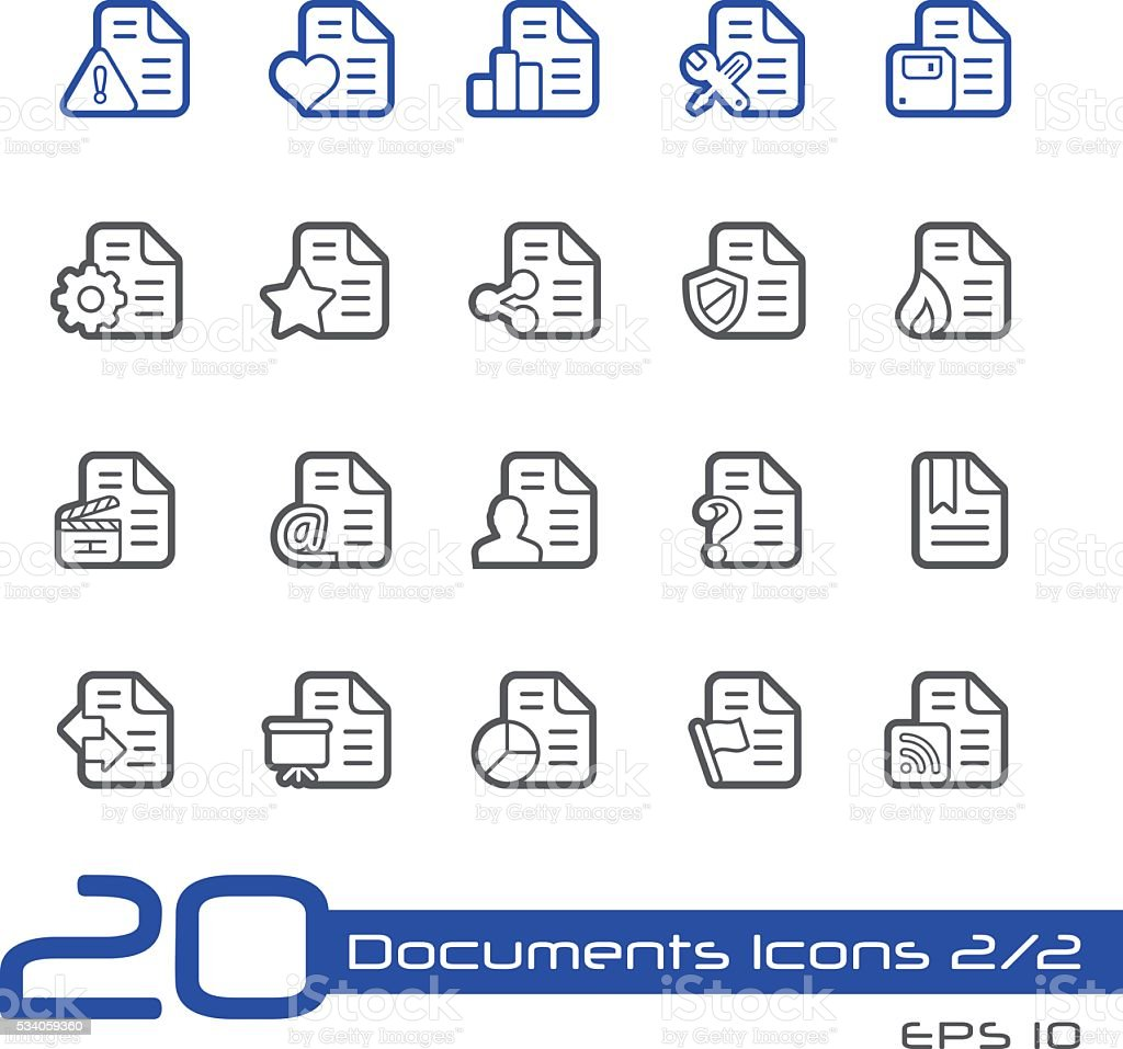 Documents Icons 2 - Line Series vector art illustration