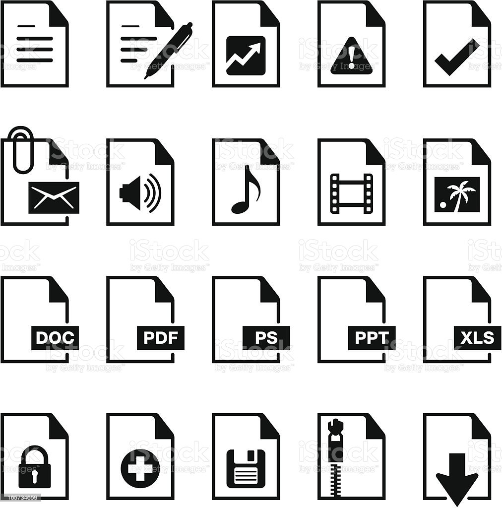 Documents Icons - Black-Series vector art illustration