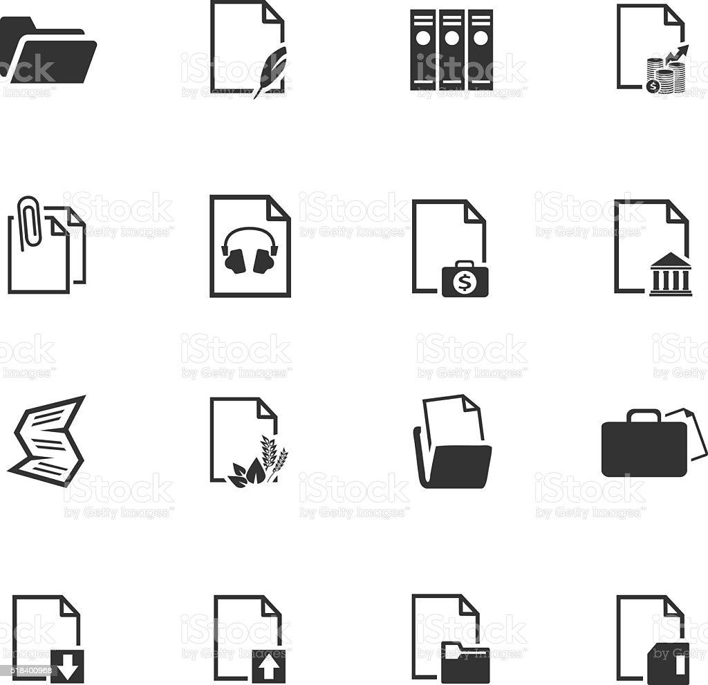 Documents icons set vector art illustration