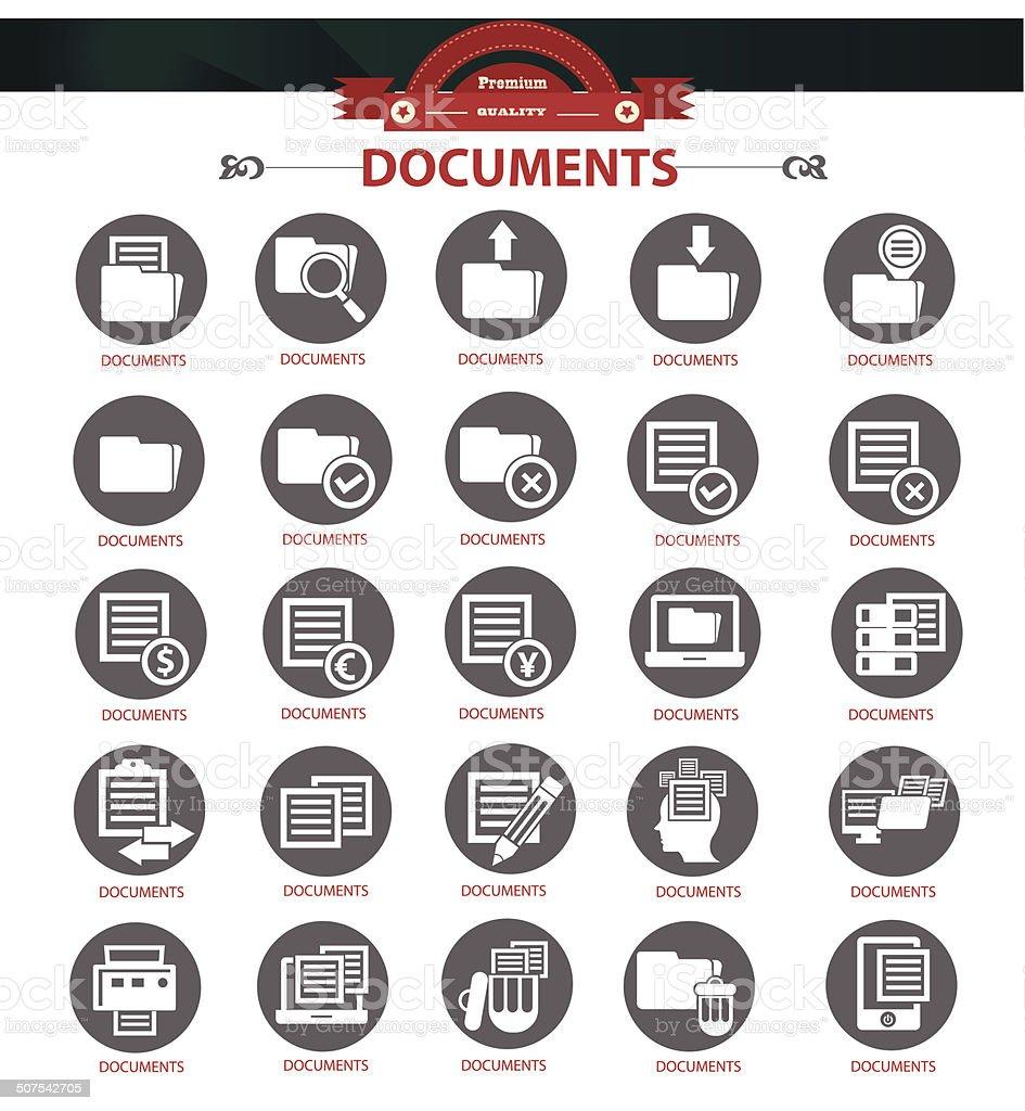 Documents icons,Black version,vector vector art illustration