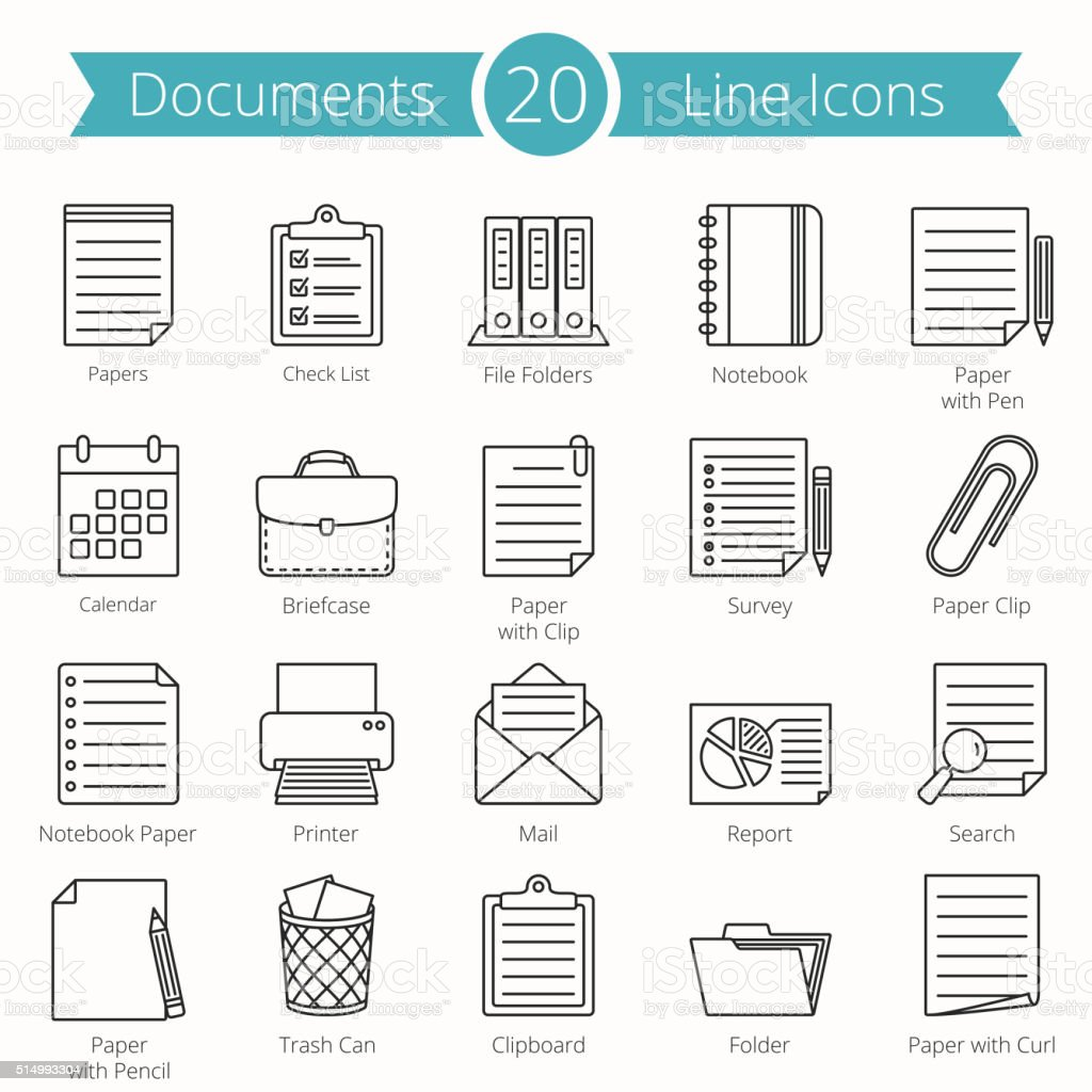 Documents Line Icons vector art illustration