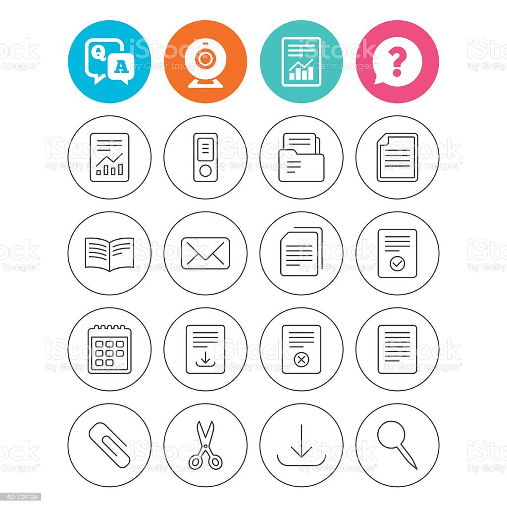 Documents linear icons. Accounting, book. vector art illustration