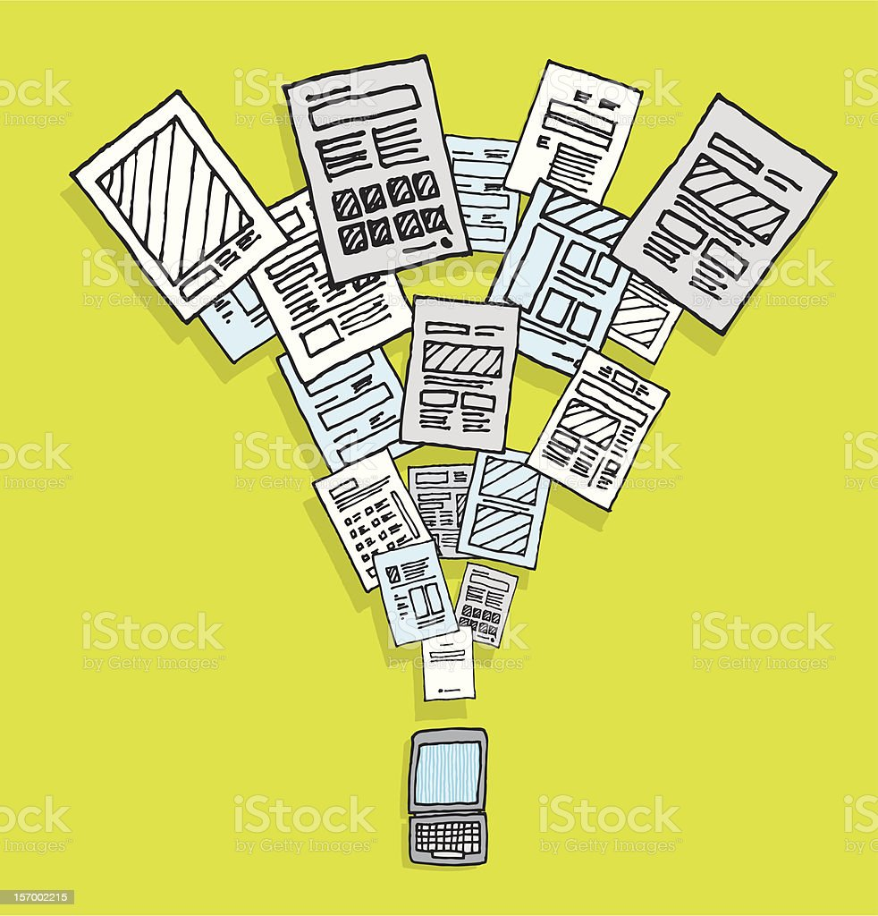 Documents sharing and downloading royalty-free stock vector art