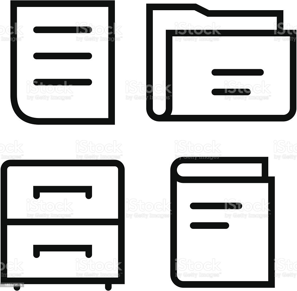 Documents thin set royalty-free stock vector art