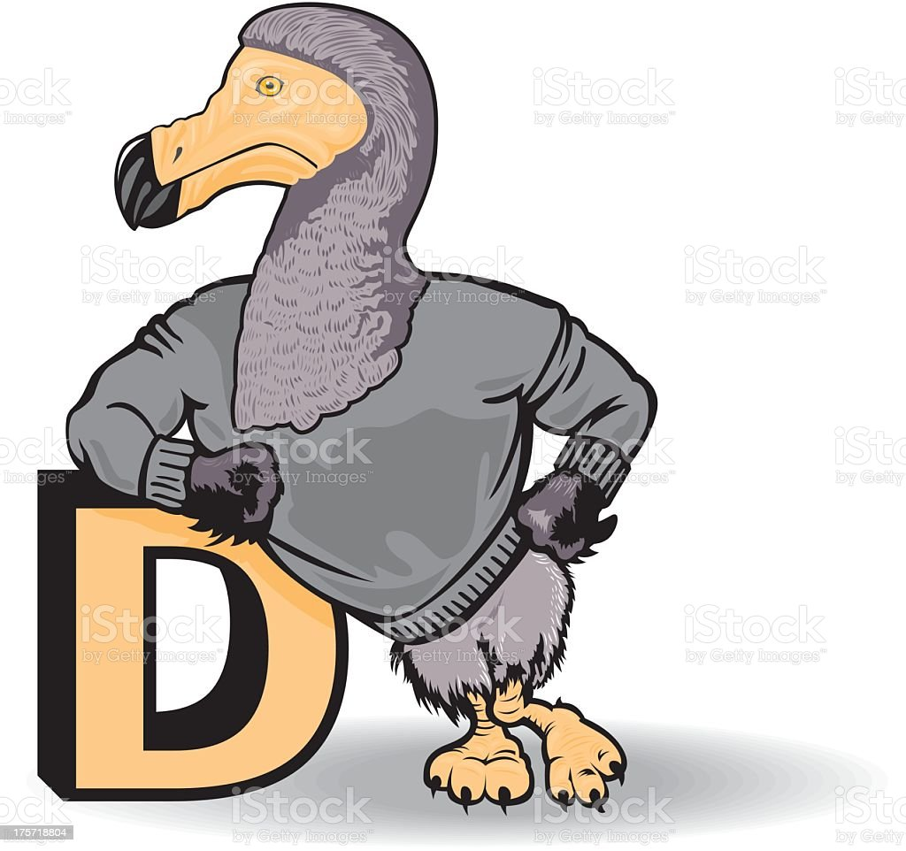 Dodo Bird With The Letter D royalty-free stock vector art