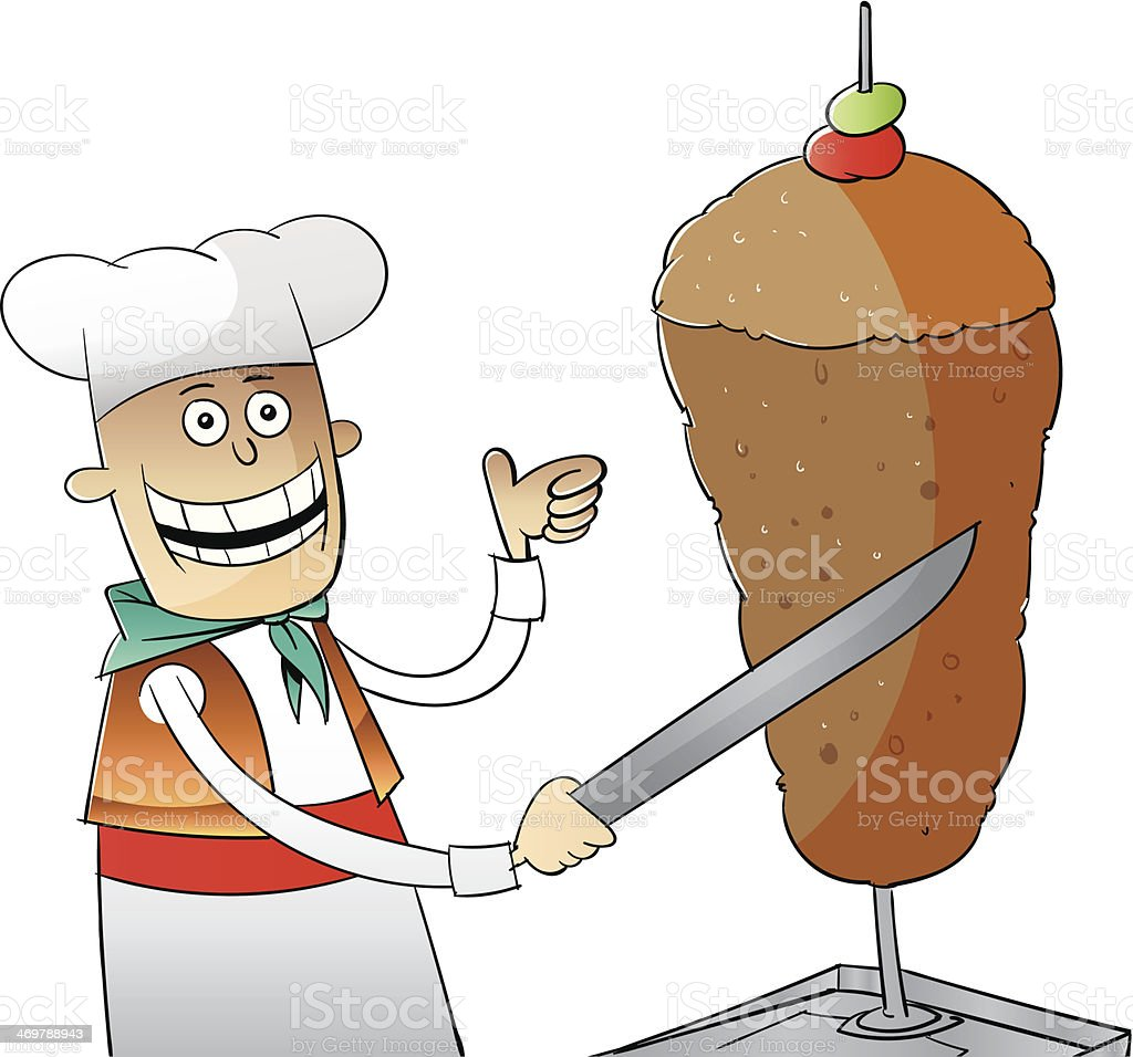 Doener_Kebab_am_Spiess royalty-free stock vector art
