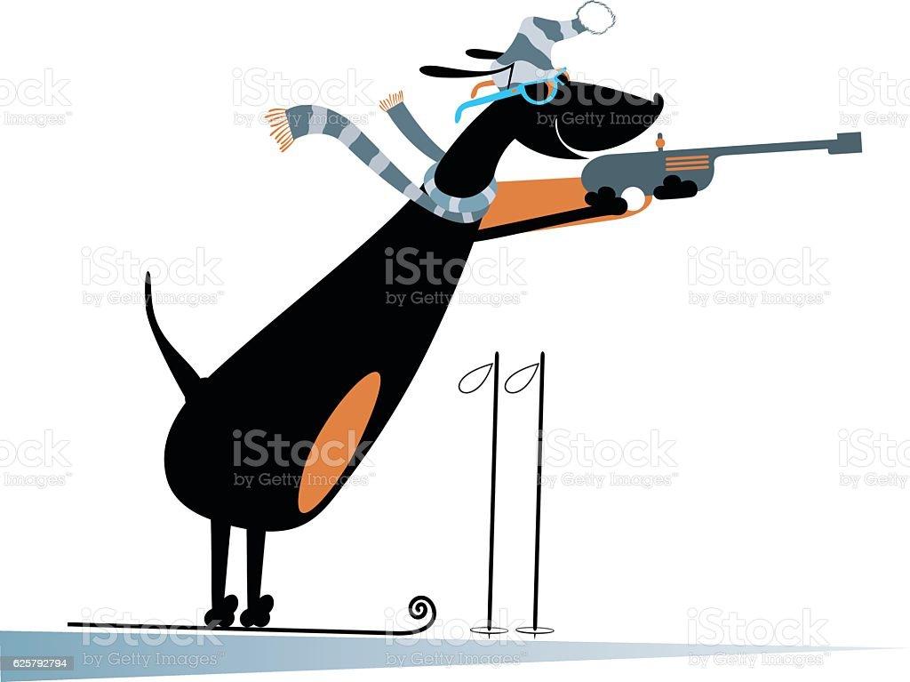 Dog a biathlon competitor vector art illustration
