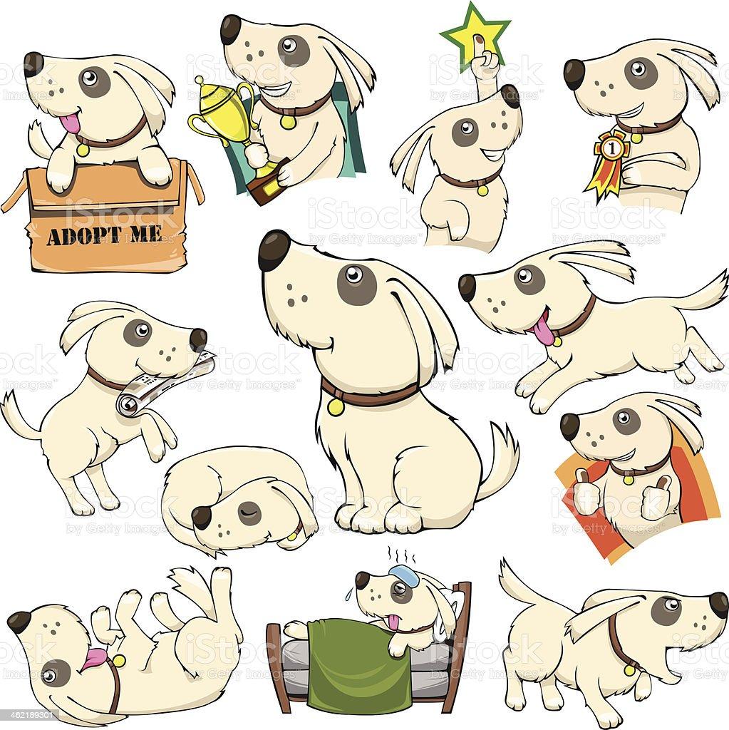 Dog Activities Set Cartoon vector art illustration
